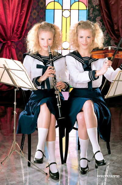 Twin teens Judit and Zsuzsa..
